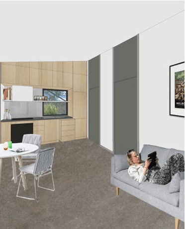 rendered image of woman laying on couch using tablet in open living kitchen space